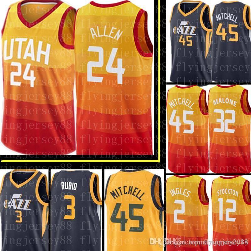 new concept 07eae be85e Grayson 24 Allen Utah City Jersey Mens Donovan 45 Mitchell Karl 32 Malone  Joe 2 Ingles Karl 32 Malone Ricky 3 Rubio Rudy 27 Gobert Jerseys