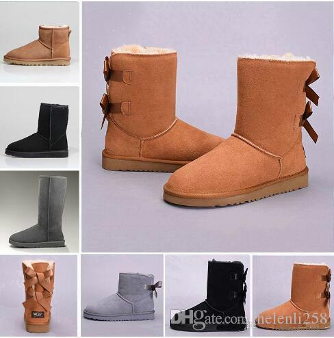 5763e5ea586 Hot NEW women bailey bow snow boots short winter Cowhide leather Bowknot  women's Australia Lady warm boots female shoes