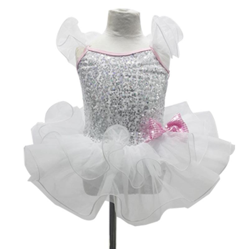 Latin Dance Dress Children Child Ballet Female Summer Cake One-piece Clothes White Professional Ballet Dance Costumes