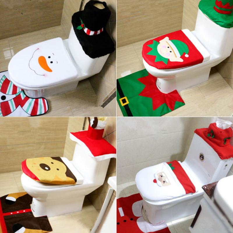 Christmas Toilet Seat Cushion Covers Snowman Elk Chamber Pot Bathroom Closestool Floor Rug Tissue Cover Sets Lid Mat Decoration Gift