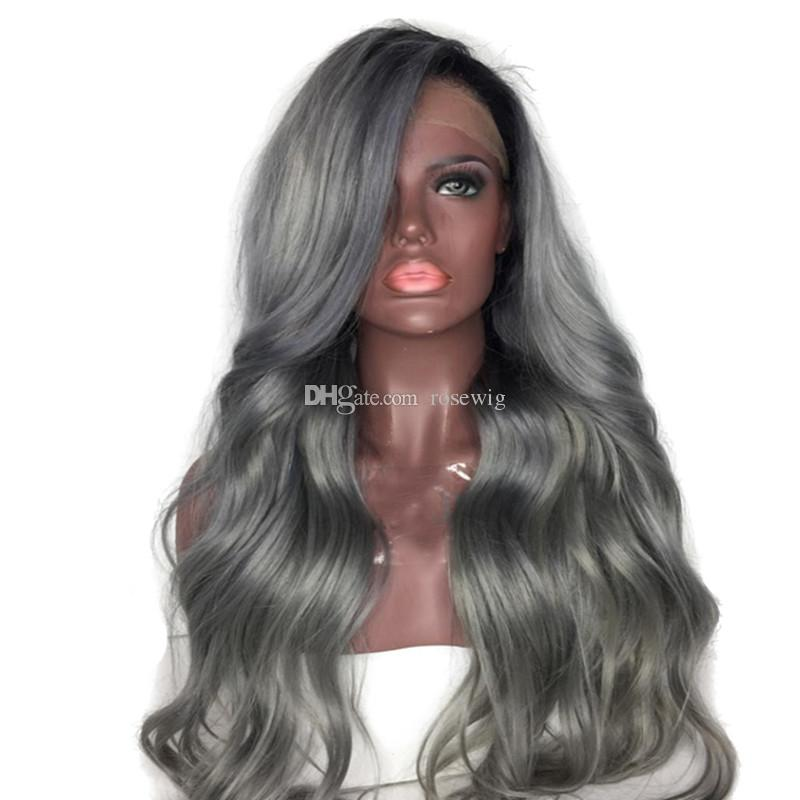 Ombre Silver Grey Hair Full Lace Wigs Virgin Brazilian Human Hair T1B Gray Rooted Human Hair Lace Front Wig Body Wave