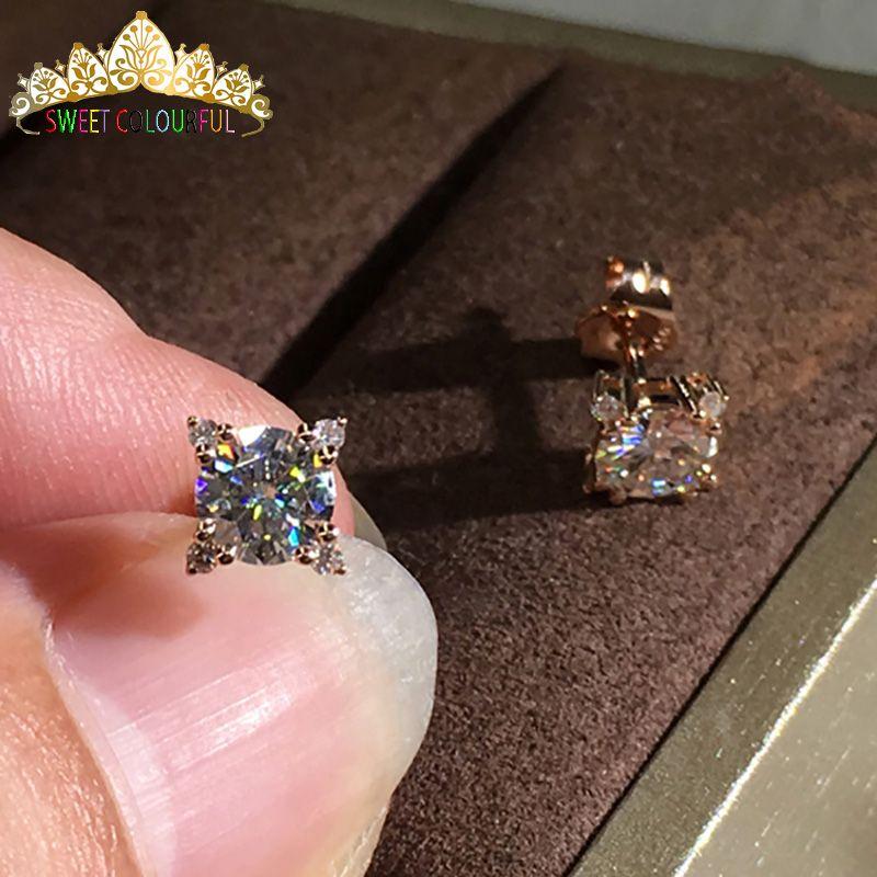 e09bd98a4c275 18K Gold 2PCS 1CT 6.5MM D Color Moissanite Earrings For Women M-0.11