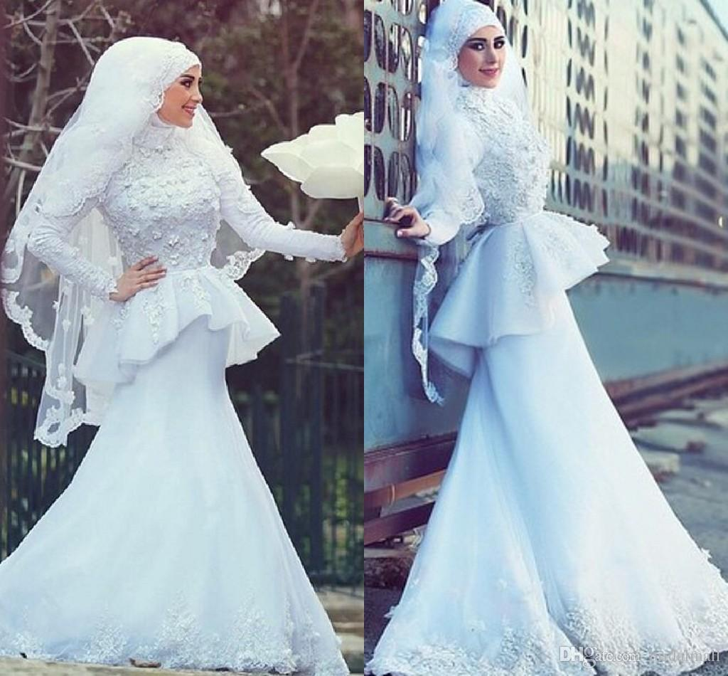 27a09f66a6f Saudi Arabic 2019 Lace Appliques High Neck A Line Wedding Dresses With Long  Sleeve Muslim Bridal Gowns With Hijab Wedding Dress Vestidos Cheap Plus  Size ...