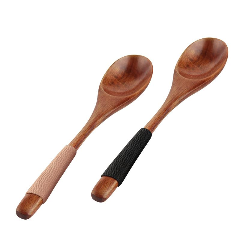 Natural Wooden Soup Spoon Bamboo Kitchen Cooking Utensil Tool Soup Teaspoon Catering Practical Long Handle Wood Spoon