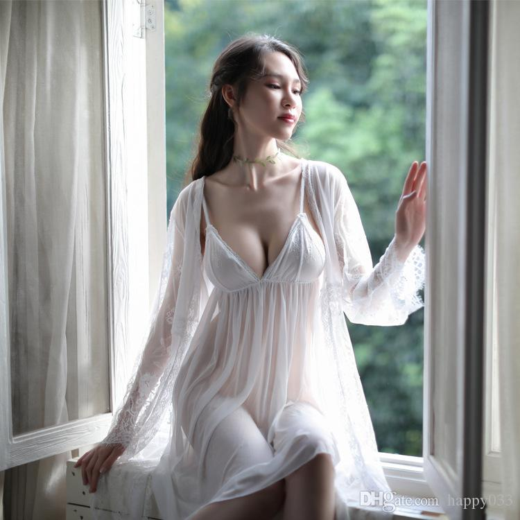 Free size Hot sale Women mesh sleepwear sexy deep v neck mini dress +Robes ladies night wear #S131