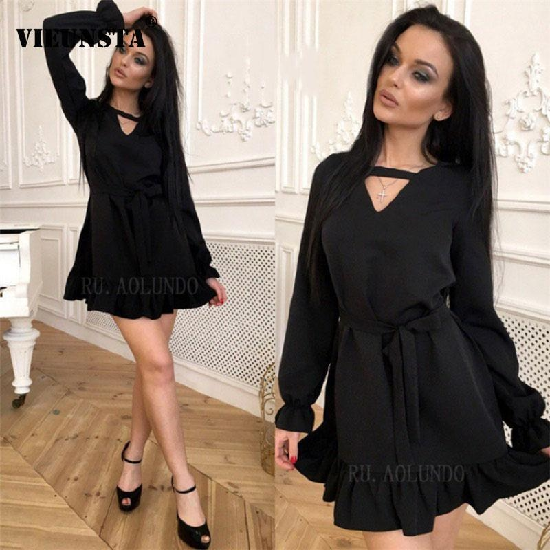 a5c7bc29bc VIEUNSTA 2019 Choker V Neck Ruffle Mini Short Dress Women Spring Sashes  Lace Up Dresses Casual Long Sleeve A Line Party Dress Dressing Styles For  Ladies ...