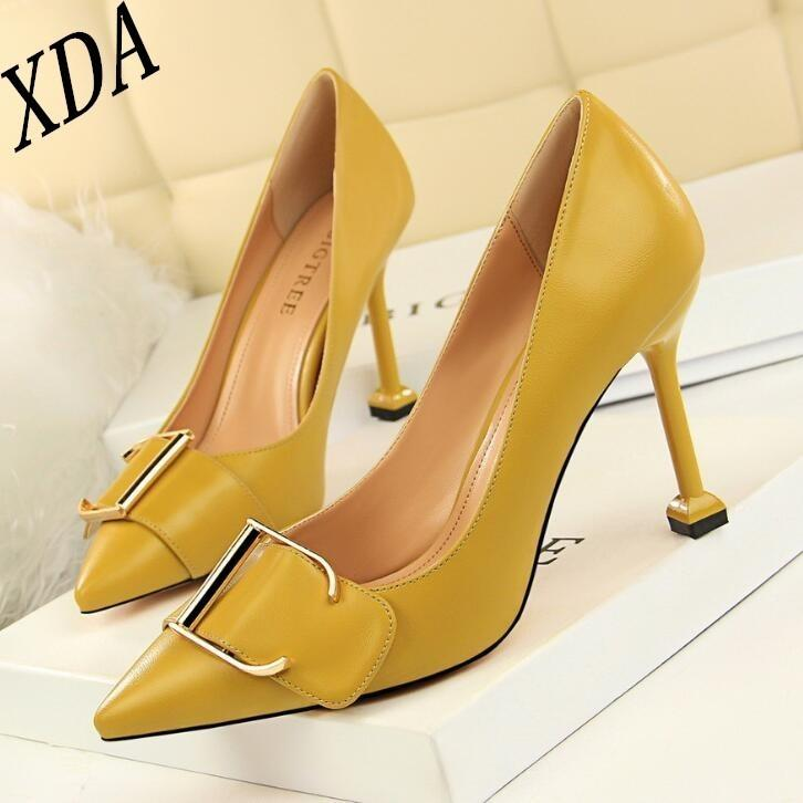 524600ebd025 Dress Xda 2019 Korean Fashion Metal Belt Buckle Office Shoes Women S  Shallow Mouth High Heels Party Shoes Pointed Toe Sexy Women Shoes Womens  Sandals ...