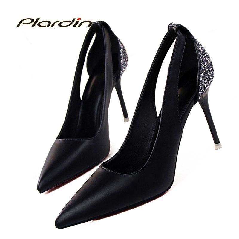 Plardin Summer Fashion Sweet Woman Pumps Wedding 2019 Women S Pointed Toe  Bridal Crystal Bling Cutouts Shallow Thin High Heels Flat Shoes Online  Clothes ... ae7964da5246