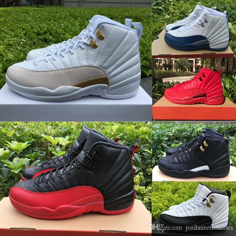sale retailer 5aced 95229 High Quality 12 12s OVO Gym Red Bulls WNTR Master Basketball Shoes Men Taxi  Flu Game French Blue Olive Canvas Sports Designer Sneakers