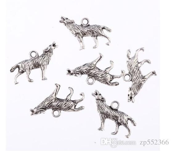 Tibetan Silver Howl Wolf Bead Pendant Charms Fit European Bracelet Necklace Earrings Jewelry Making Handcraft Gifts Accessories 25x12mm
