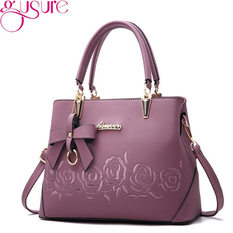 34761a6bea3f Gusure Women Bag Flower Embroidery Handbag Luxury Shoulder Tote Bags Lady  Crossbody Top Handle Zipper Handbag New Arrival Shoulder Bags Cheap Shoulder  Bags ...