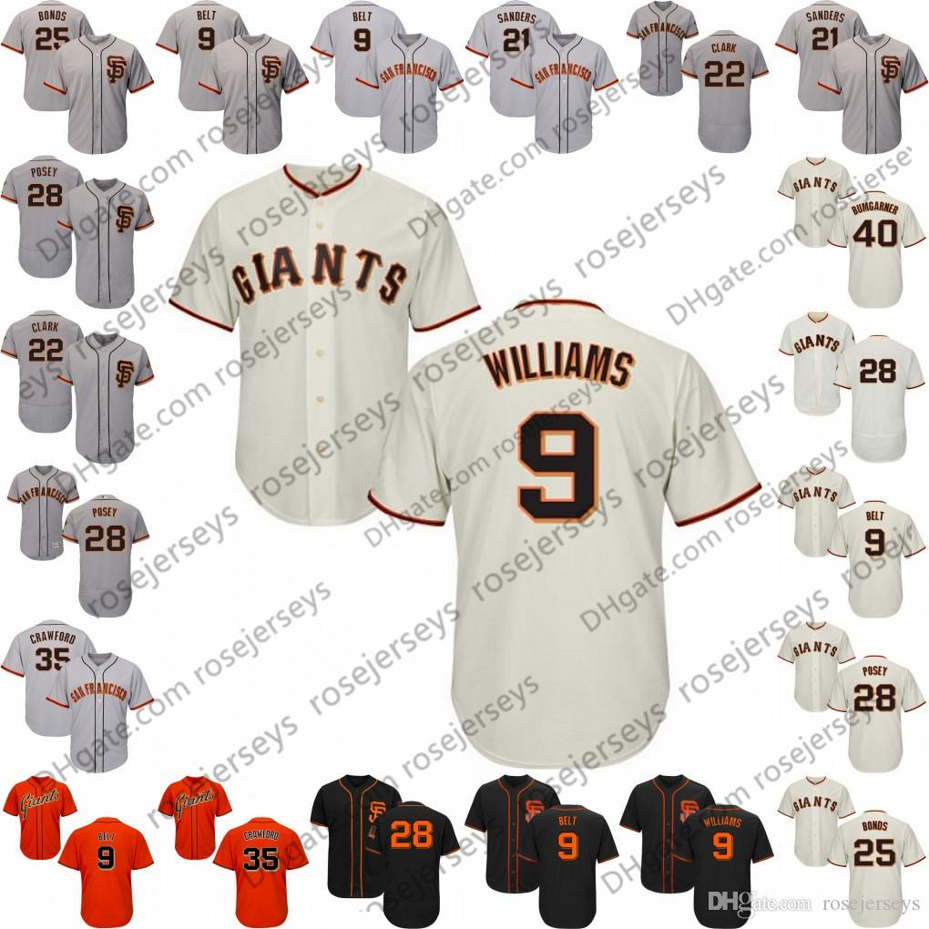 buy online d01a5 470a2 Custom Giants Jersey San Francisco 1 Kevin Pillar 9 Brandon Belt 10 Evan  Longoria 35 Brandon Crawford 40 Madison Bumgarner 12 Joe Panik