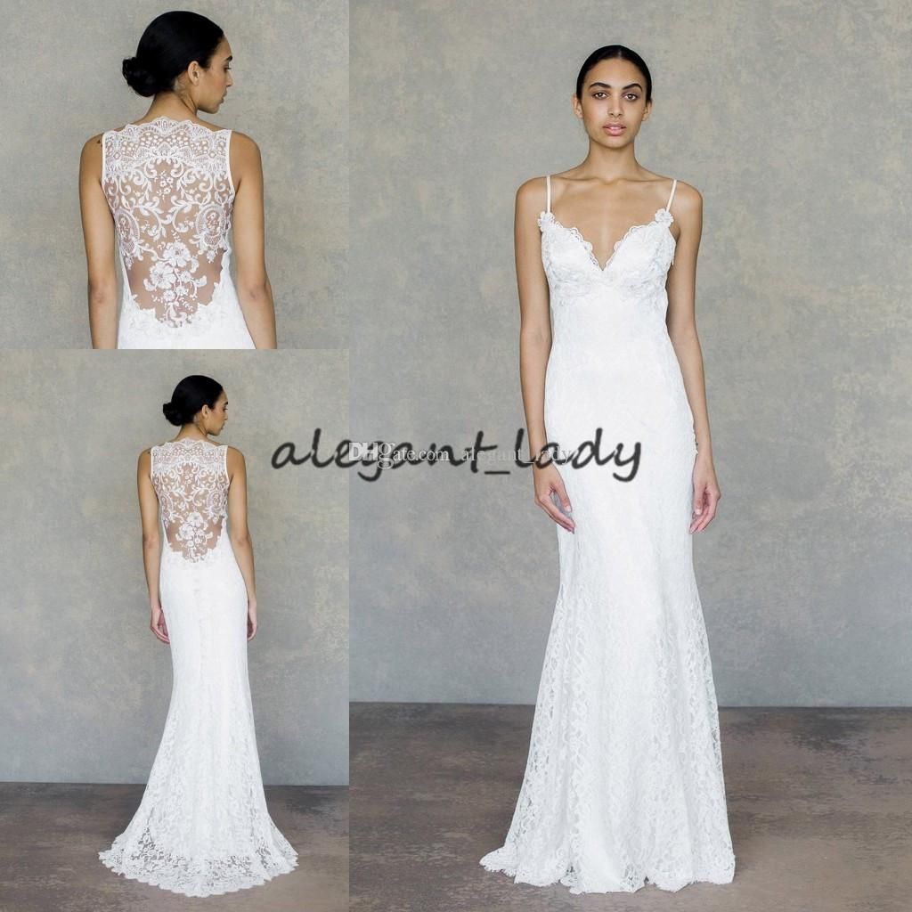 Sheath Wedding Dresses 2019: Bohemian Sheath Wedding Dresses 2019 Vintage Spaghetti
