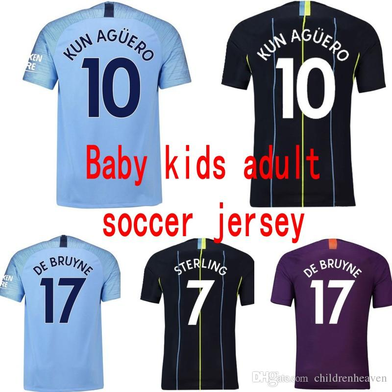 buy online 143d6 48d8f Kids designer clothes boy girl 18 19 Manchester city Soccer Jerseys baby  Football jersey adult Maillot De Foot STERLING KUN AGUERO