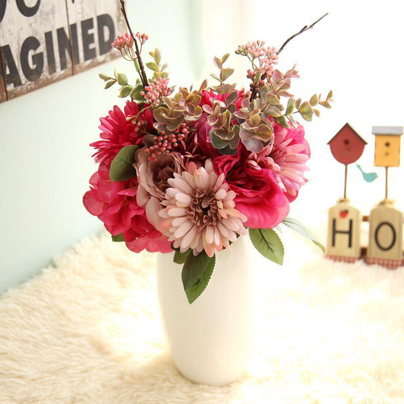 Artificial Flowers Bouquet Rose Dahlia Fall Vivid Fake Flower For
