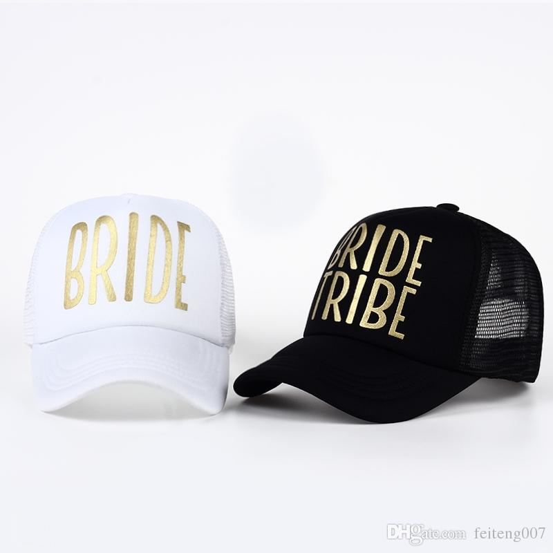 4e63355149536 BRIDE TRIBE Gold Print Mesh Women Wedding Baseball Cap Party Hat ...