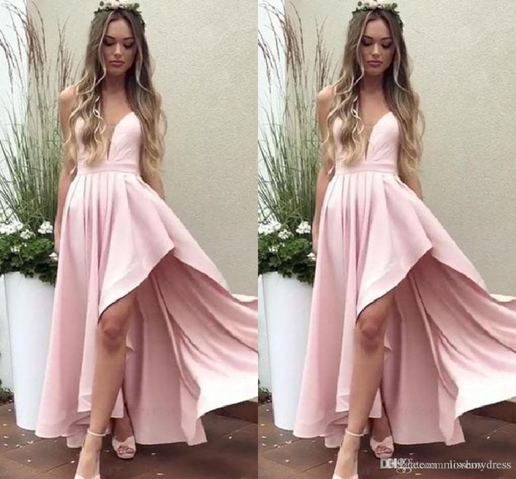 35f70011a Compre Escote Pronunciado Vestidos De Fiesta De Cóctel Rosa 2019 ...