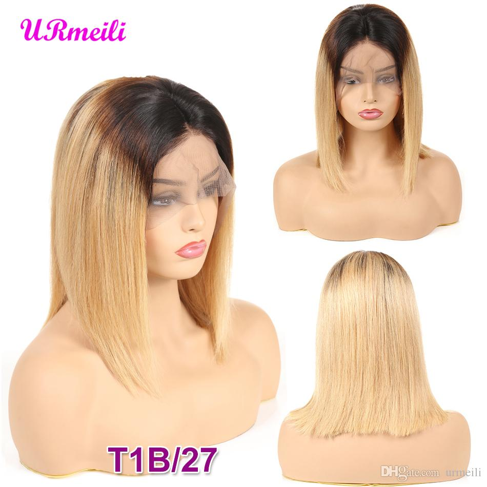 Short Bob Human Hair Wigs For Women Ombre 1B/27 Black Roots Remy Brazilian Lace Front Human Hair Wigs Plucked With Baby Hair