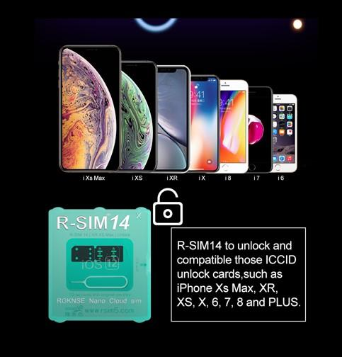 Hot Original R-SIM 14 unlocking card for 4G iPhone xs max xr IOS12.X iccid Smart Activation with free shipping