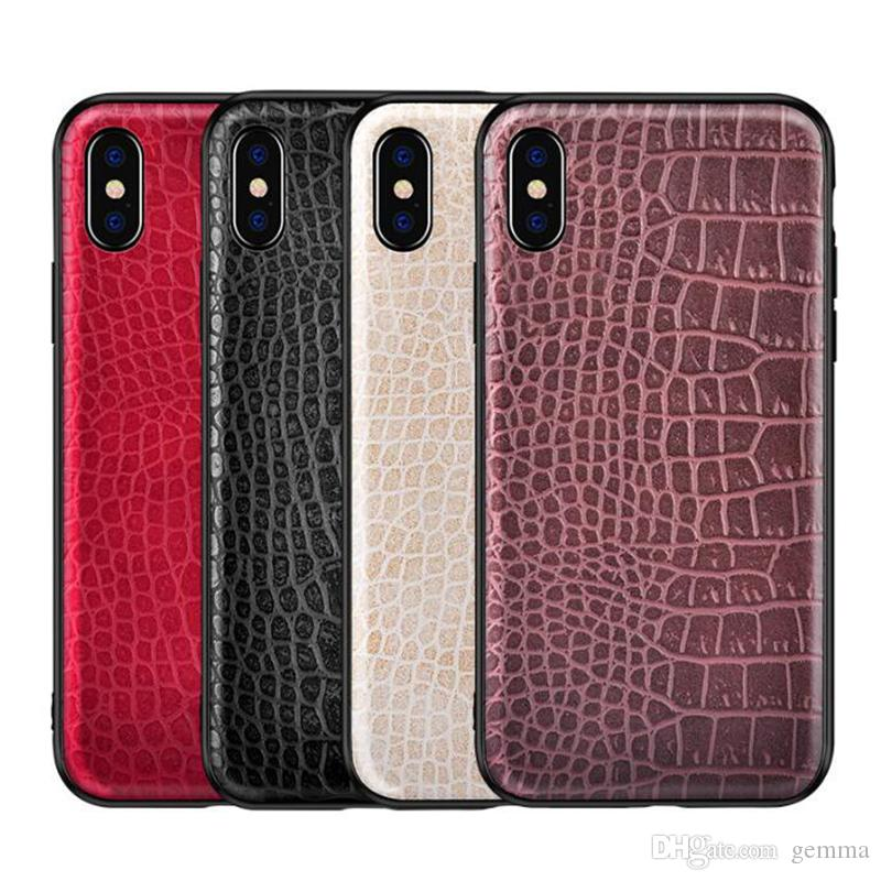 finest selection 04241 4e528 Luxury Design Crocodile PU Soft Leather Phone Case For iPhone X 8 Plus Xs  Max XR Crocodile Cases For Samsung galaxy Huawei