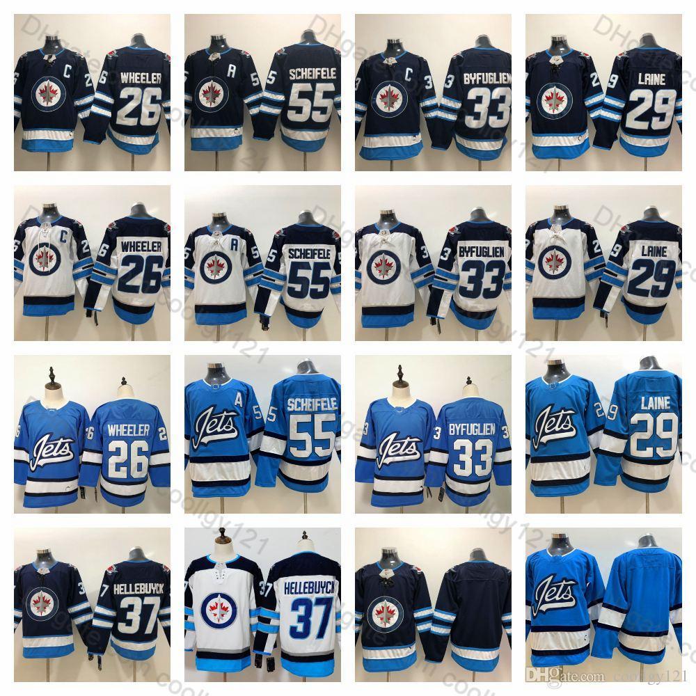 best website 3993e ecc34 Men s Winnipeg Jets 55 Mark Scheifele Jerseys 29 Patrik Laine 26 Blake  Wheeler 33 Dustin Byfuglien 37 Connor Hellebuyck Ice Hockey Jerseys