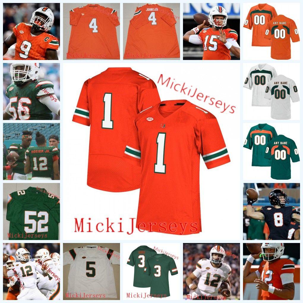best loved 68d65 819a3 Custom Miami Hurricanes Football Jersey Jaquan Johnson NKosi Perry Malik  Rosier Jr. Michael Pinckney Joe Jackson Tyler Gauthier Miami Jersey