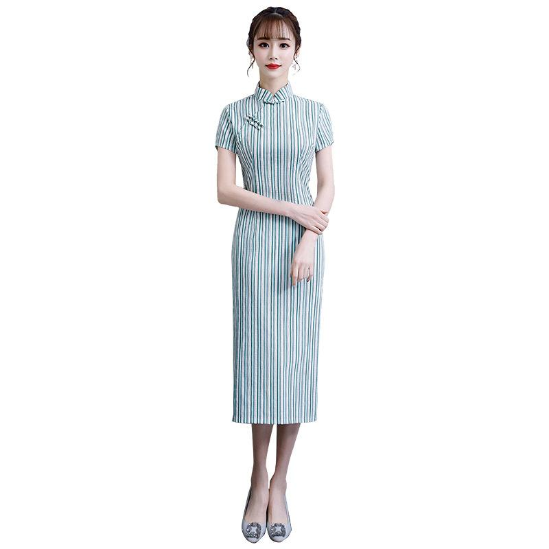 Striped Cotton Linen Chinese Style Handmade Button Dress Vintage Ladies Short Qipao Classic Stage Show Elegant Female Cheongsam