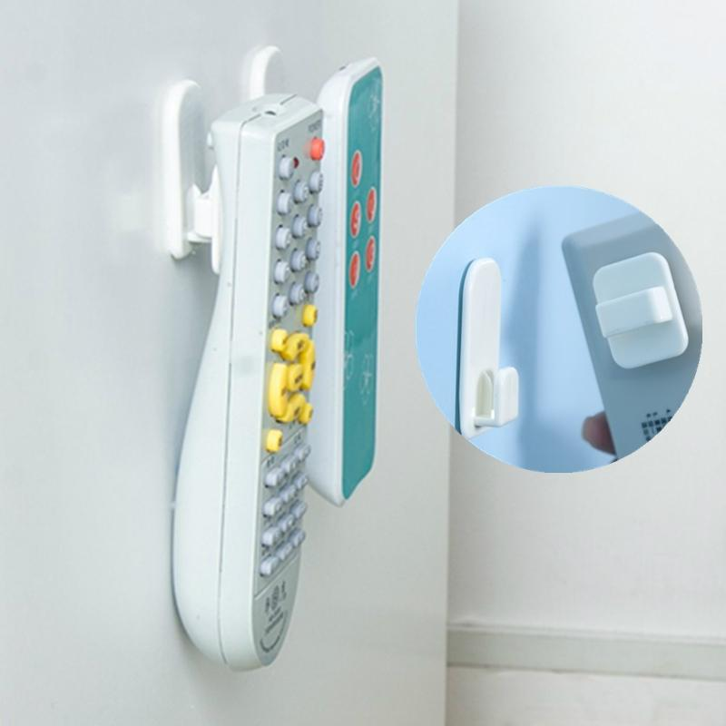 4Pcs/Set Plastic Hooks Sticky Hook Set Air Conditioner TV Remote Control Key Practical Wall Storage Strong Hanger Holder
