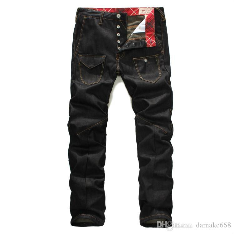 2bf24b99d3 2019 Men S Jeans Autumn And Winter Yellow Small M Letter Printing Dark Blue  Men S Burdock Trousers Sweatpants Joggers Jogging Track From Damake668