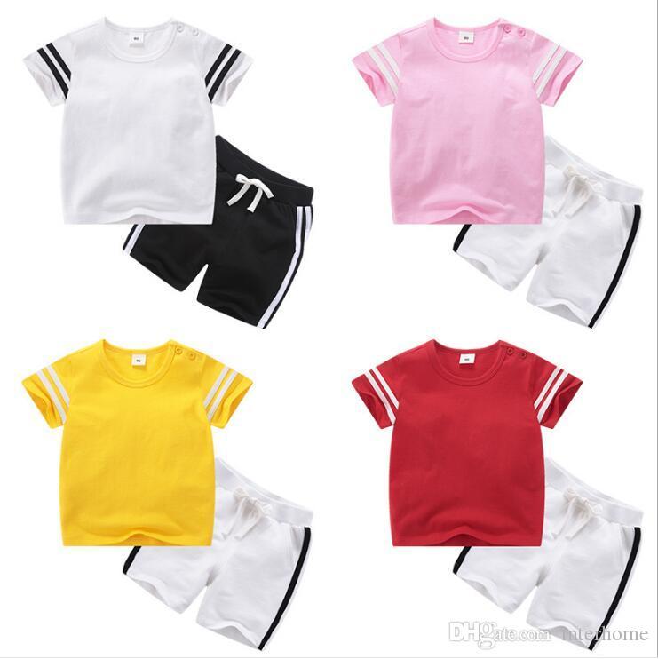 eb0bf54587b4d Kids Designer Clothes Boys Sports Suits Baby Summer Clothing Sets Short  Sleeve Tops Shorts Girls Cotton T-shirt Pants Outfits Uniform B5558