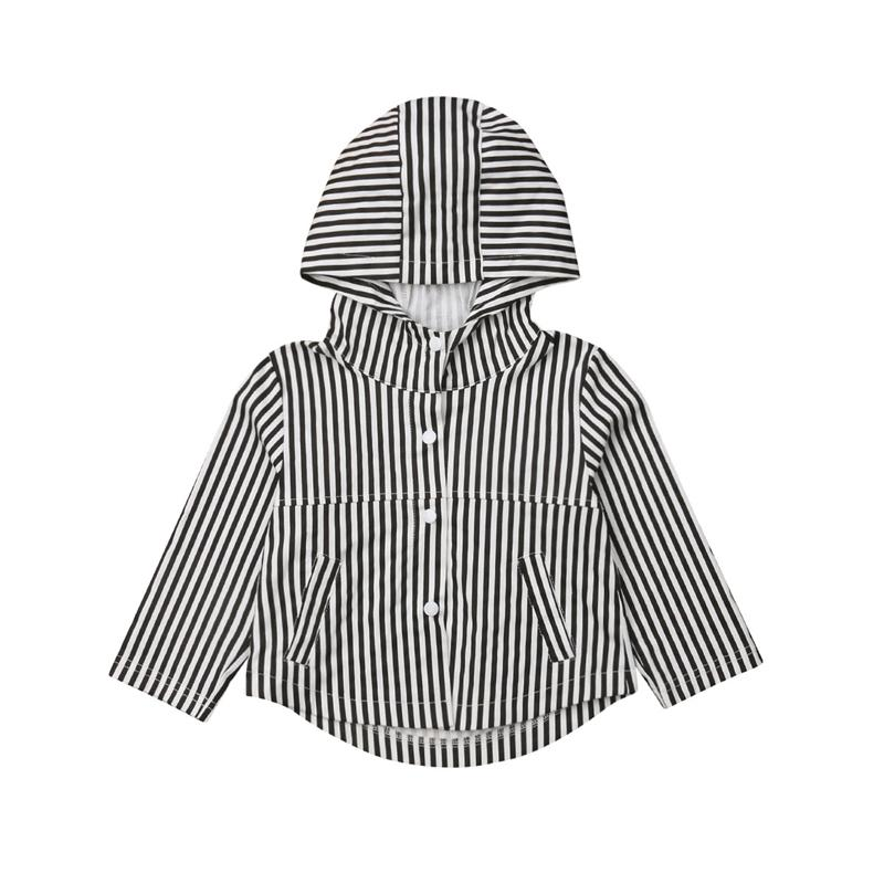 e79f6b358 Cute Children Coat Girls Costume Casual Striped Long Sleeve Hooded ...