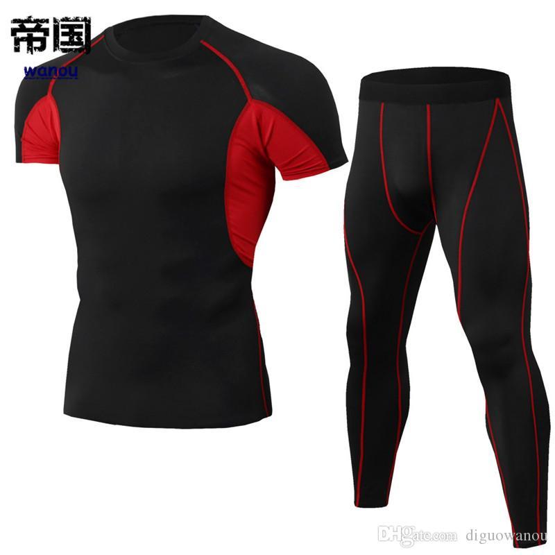 ff4270dd9 Compre Ropa Deportiva Body Hombre NUEVA Camiseta Pantalones Negro Rojo  Fitness Deportes Entrenamiento Correr Baloncesto Elástico Secado Rápido  Respirable ...