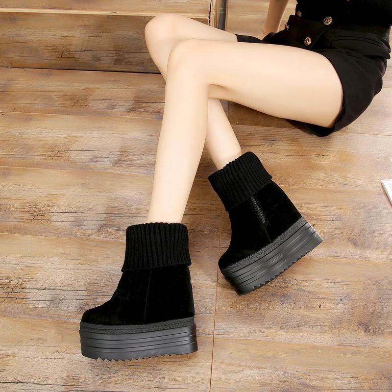 2e79e9db6 Knitted Plus Velvet Booties Winter New Black Women's Boots 13 Cm ...
