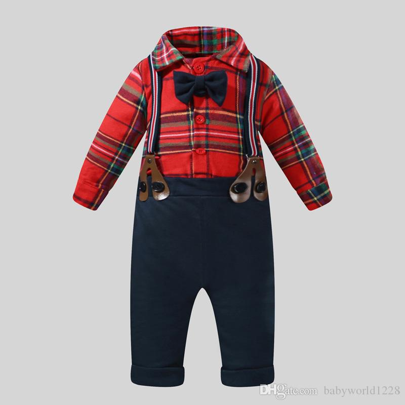 40f61e150c3a05 Baby Boys Clothes Sets Kids Birthday Wedding Gentleman Suit Long Sleeve Bow  Tie Rompers+Suspenders Pants Newborn Outfits Baby Jumper Tops Boys Set  Children ...