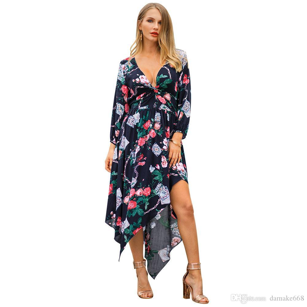 b3f85341ca4 Women Designer Maxi Dresses Clothes Dresses Sexy Short Dress Women  Jumpsuits Rompers Women S New Dress Spring Print V Neck Fashion Clot  Cocktail Dresses ...