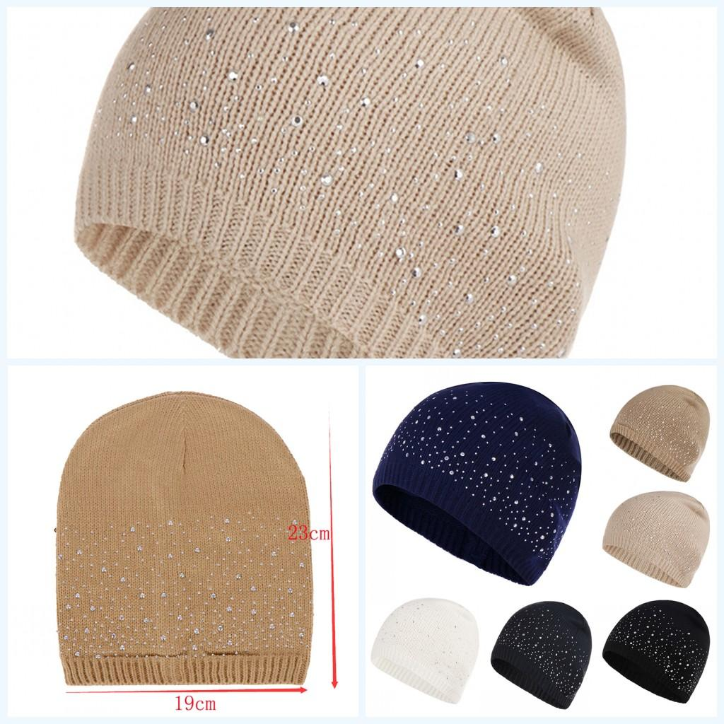 2c2501d51a4 2019 New Soft Female Knitted Hat Winter Autumn Hat Rhinestone Cotton ...