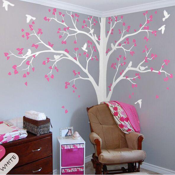 Full Corner Tree Wall Sticker Nursery Kids Room Wall Decor Set Of Two  Corner Tree Vinyl Wall Decal Birds And Leaves Mural AY1341 Wall Cling  Decals Wall ...