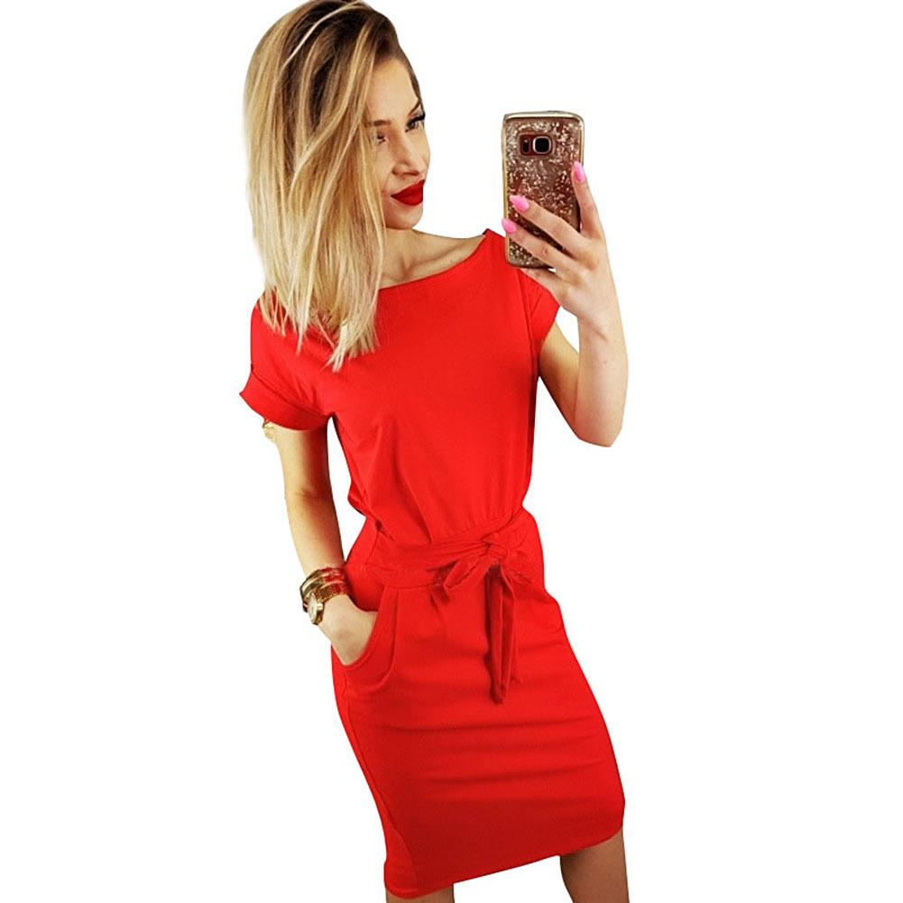 809242442a3 2018 New Roupas Femininas Women Boat Neck Short Sleeve Office Pencil Dress  Tie Belt Knee Length Summer Casual Midi Dress Ropa Black Womens Clothes  Black And ...