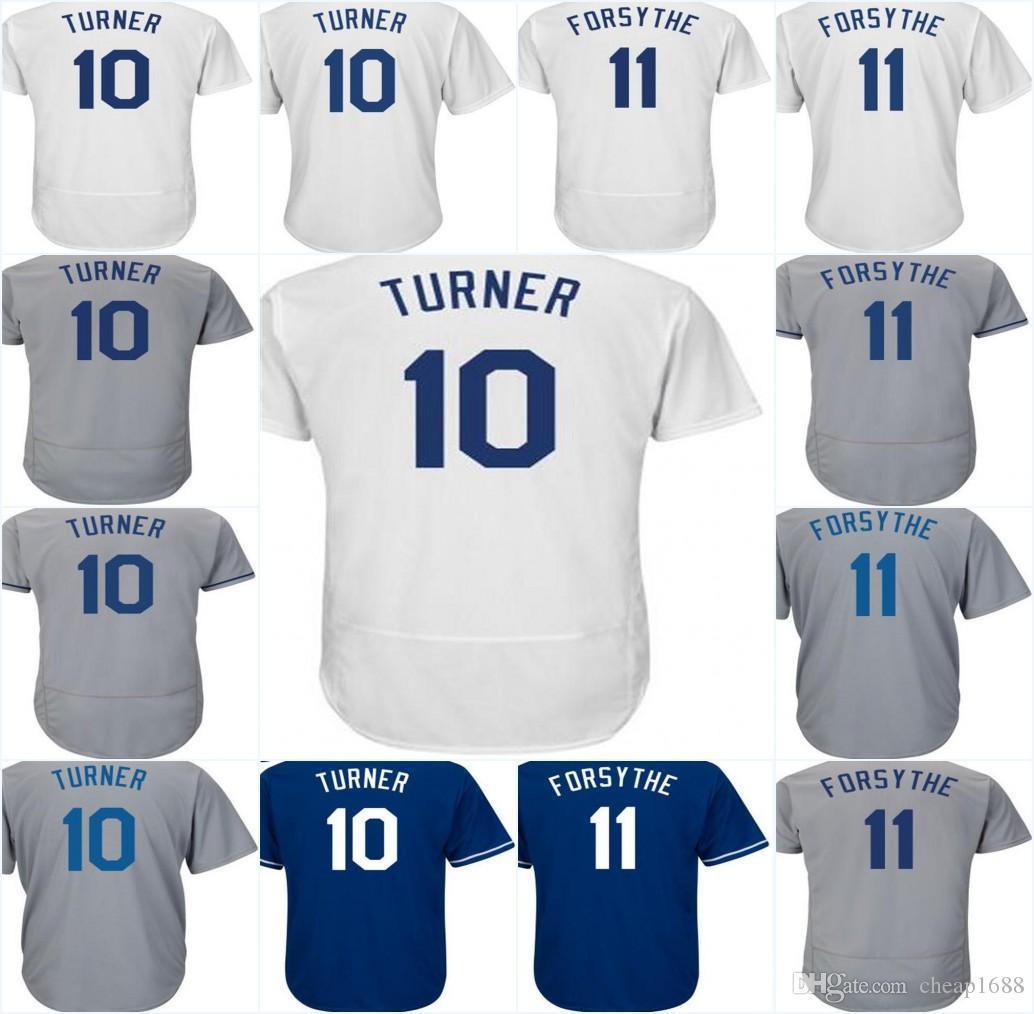 2018 Cheap Wholesale 2018 Los Angeles 11 Logan Forsythe 10 Justin Turner  White Grey Blue Men Lady Kids Toddlers Baseball Jerseys From Jerseys4858 e7597c8c2c4