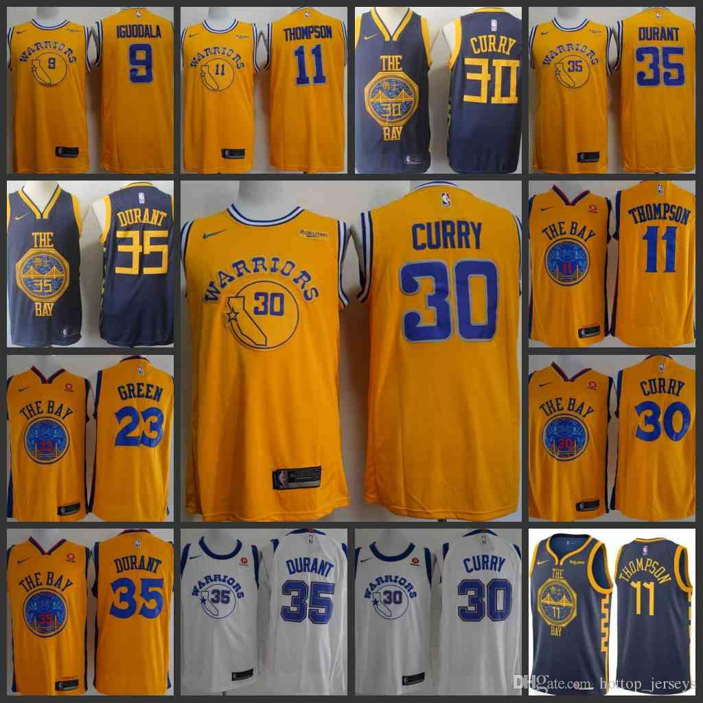 82252dbe79a8 2019 2018 19 Golden Men State Warriors Jersey Kevin Durant Stephen Curry  Thompson Andre Iguodala Jerseys From Outlet jersey