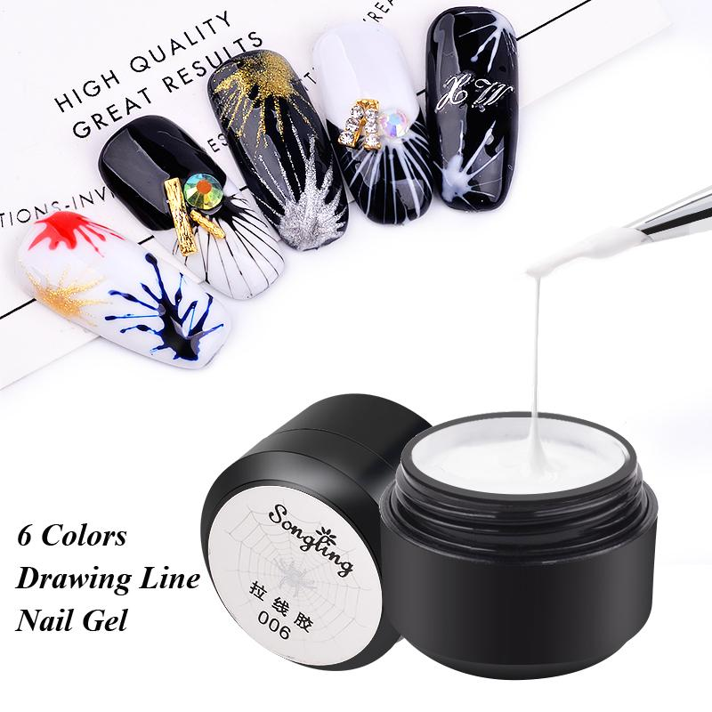 1Pcs Painting Gel Nail Polish Wire Point To Line Drawing Nail Gel Lacquer Glitter Pulling Silk Varnish Manicure Art Tools
