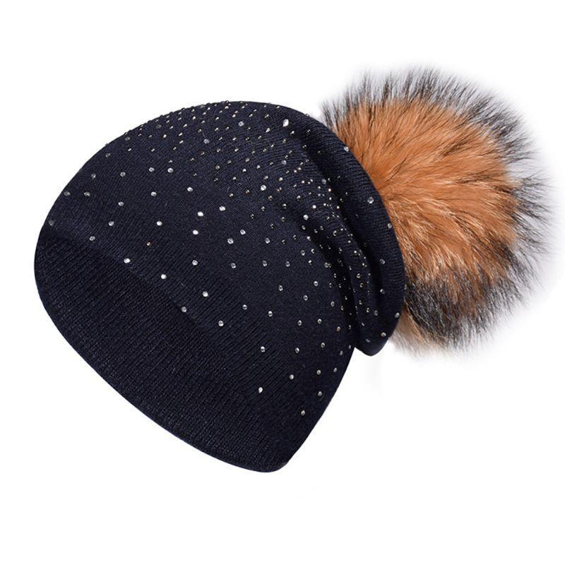 size 40 4c133 fbabf Donna Donna Inverno Cashmere a costine maglia cappello strass abbellimento  staccabile pompon pompon berretto palla berretto tinta unita Ea