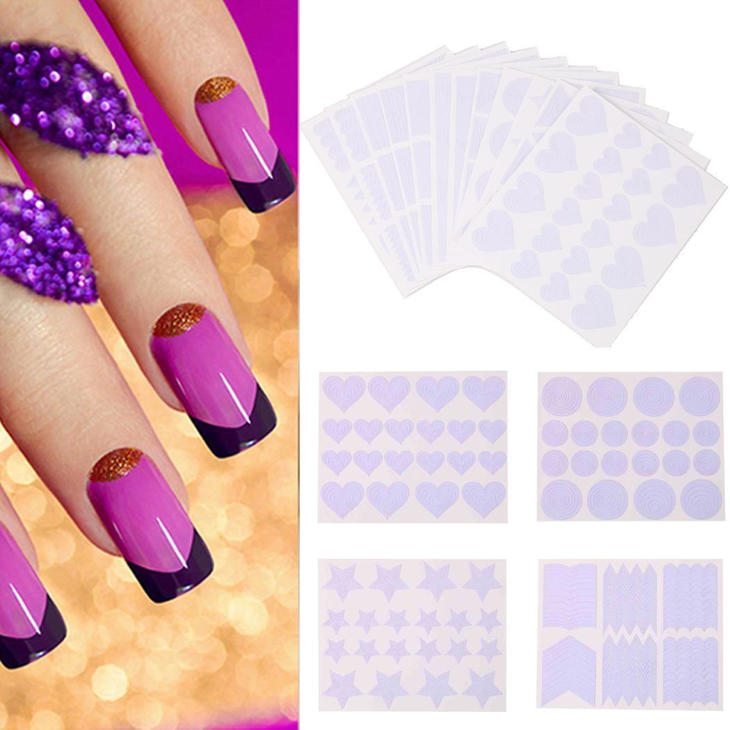 Template Sticker Design Art 75mm Sheet x Tips Guide 3 Hollow Stencil 5 x  Sheets 0inch French 12 90 Nail of 3 3D