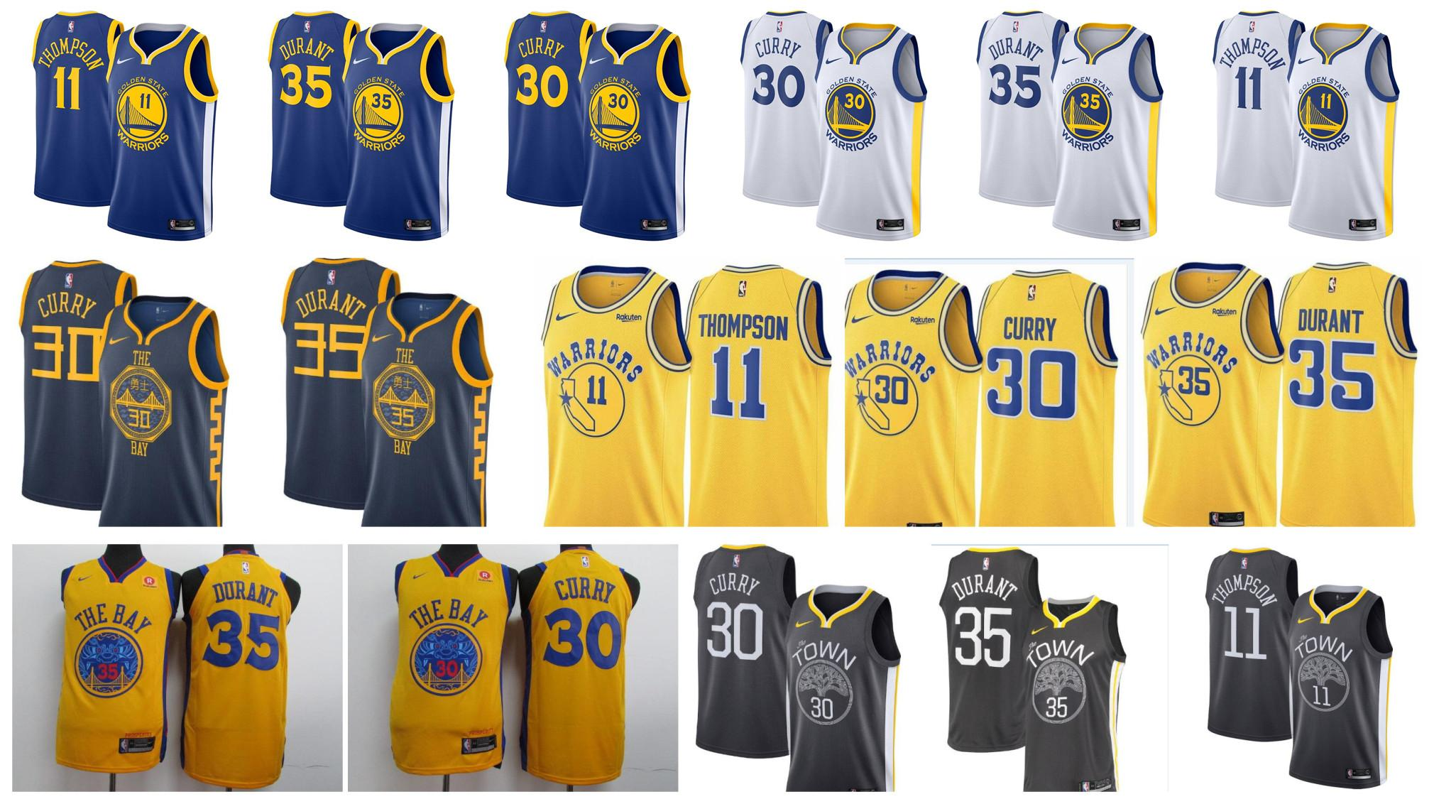the best attitude 1c49f 08cec 2019 Men s Golden Stephen Steph 30 1 Curry jersey Warrior State Kevin 35 1  Durant basketball Klay 11 1 Thompson jerseys