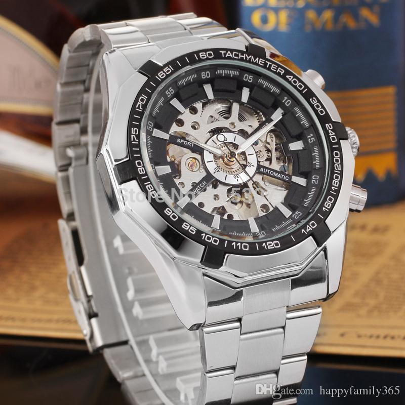 2019 new winder Winner diver with box day Luxury Sport Men Automatic Skeleton Mechanical Military Watch Men full Steel Stainless Band reloj