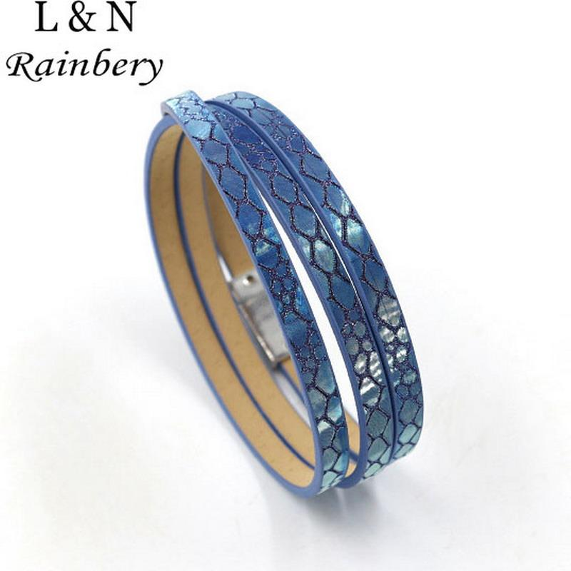 Rainbery 2019 Hot Sale 5 Colors 57cm PU Leather Wrap Bracelet With Magnet Clasp High Quality Jewelry For Women Men JB0452