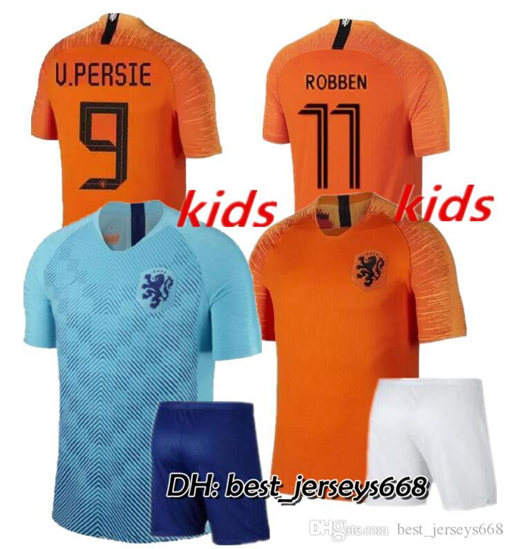 low priced 02170 48681 kids kit 2018 new Nederland soccer jersey 1819 home orange netherlands  HOLLAND ROBBEN SNEIJDER V.Persie Dutch away football shirts