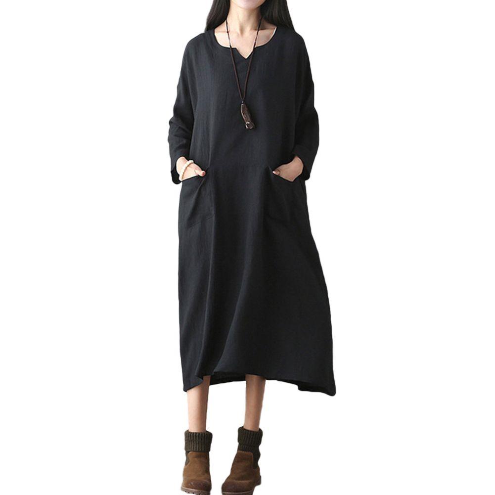 c116d8b9a5 5XL Plus Size Cotton Linen Dress Women Oversized Retro Dress Casual Loose  Long Dress Pockets Solid Black Red Autumn Vestidos Floral Dress Online  Short And ...