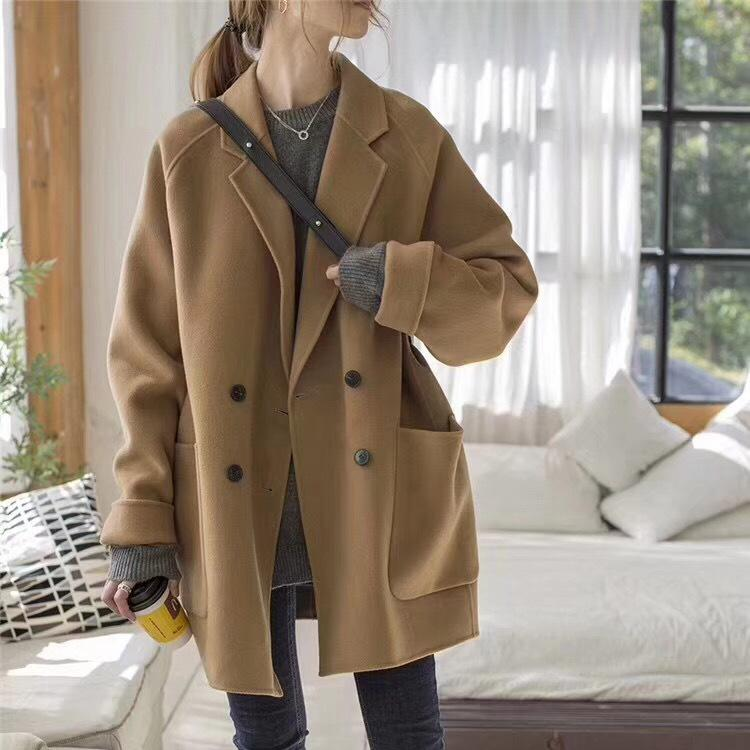 73217eff7 Woman Fabric Overcoat New Style Korean Style Easy Double-row  Cocoon-buttoned Camel Short Wool Suit Winter Woman