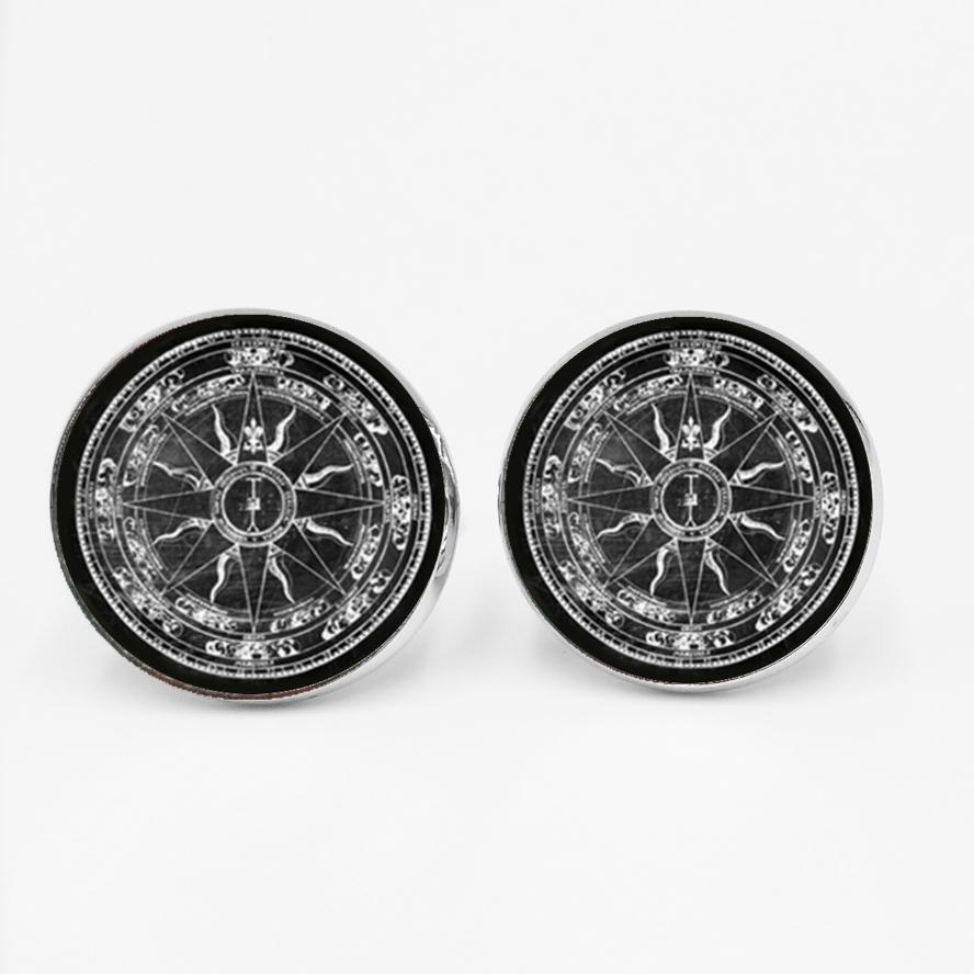 LETS SLIM Classic Vintage Compass Pattern Time Glass Gem Cufflinks Fashion Men's Shirt Buttons Private Custom